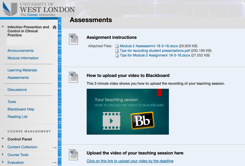 Blackboard provided guidance for students