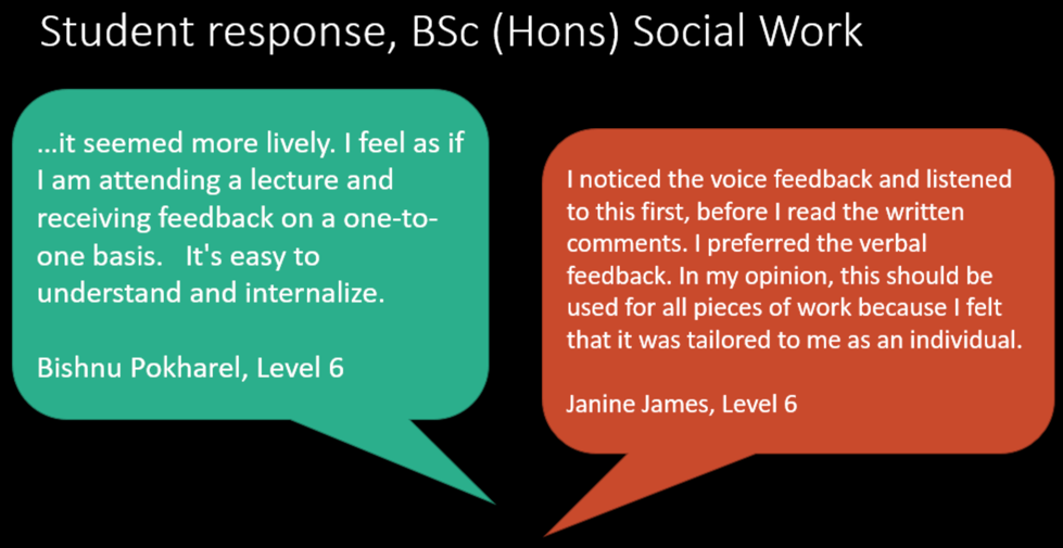 Feedback from Tricia's students to receiving recorded spoken feedback